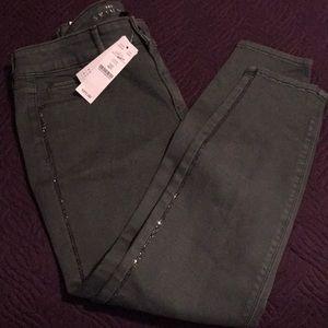 White House Black Market Mid-Rise Stripe Crop Jean